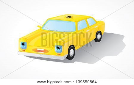 yellow taxi car . shown in isometry. eps10 vector illustration