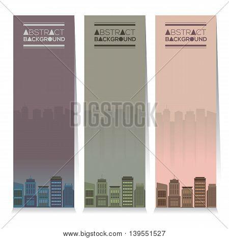 Modern Design Set Of Three Buildings Vertical Banners Vector Illustration. EPS 10