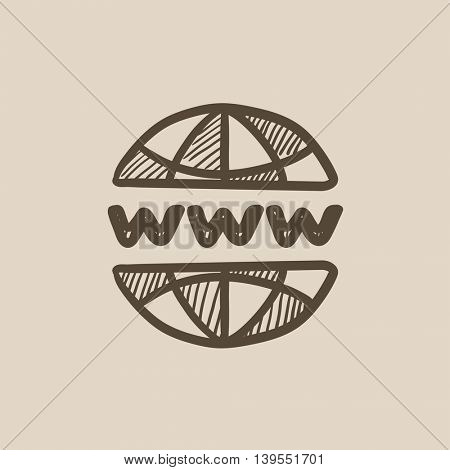 Globe internet vector sketch icon isolated on background. Hand drawn Globe internet icon. Globe internet sketch icon for infographic, website or app.