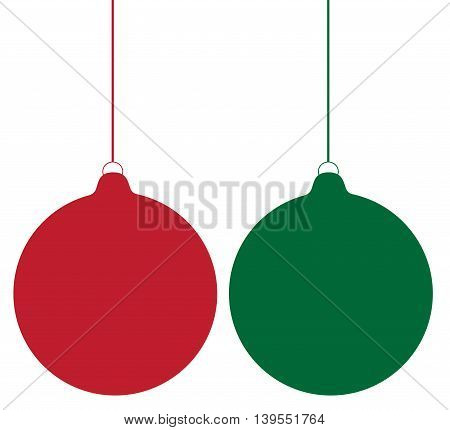 Red and Green Merry Christmas Ball Ornaments
