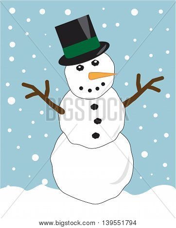 Merry Christmas Holiday Snowman with Top Hat