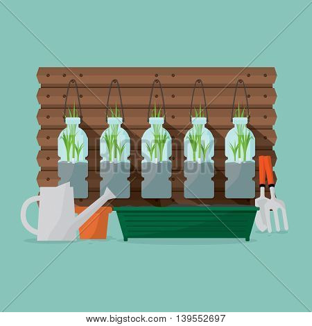Green Onions Plants In Reuse Water Bottles Vector Illustration. EPS 10