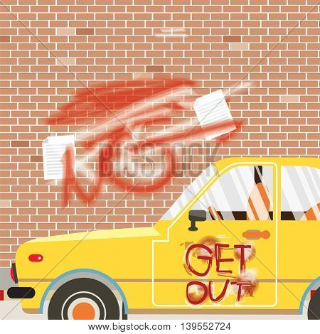 Spraying Inscription Get Out On Car And Wall Vector Illustration. EPS 10