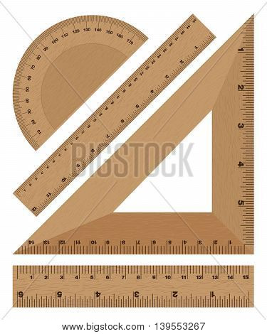 Wooden ruler instruments on a white background.