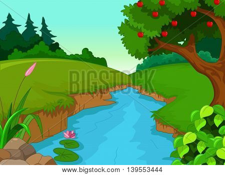 beauty forest with river landscape background for you design