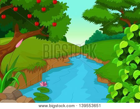 beauty forest with river for you design