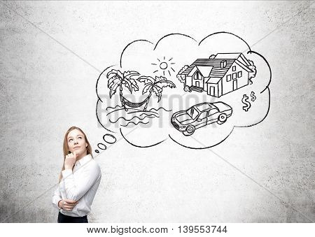 Businesswoman in white shirt dreaming about her vacation. Sketch of travelling. Concept of future vacation rest and relaxation.