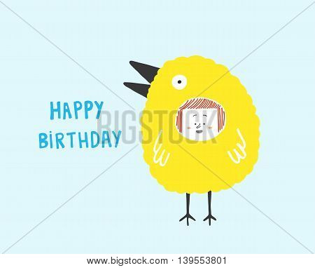 Happy Birthday cardgirl in a bird costume vector illustration