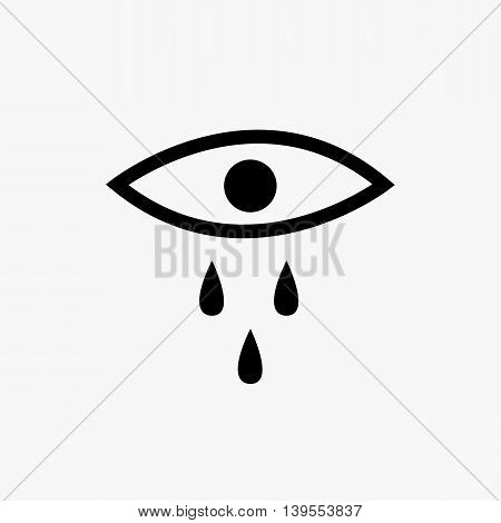 Crying eye black silhouette icon, vector illustration