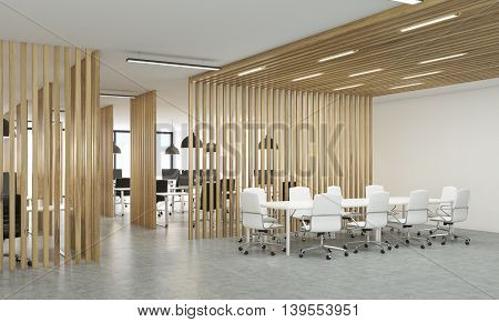 Open Office With Wooden Partitions