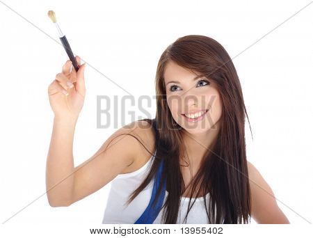 sexy girl painting on air. isolated on white background