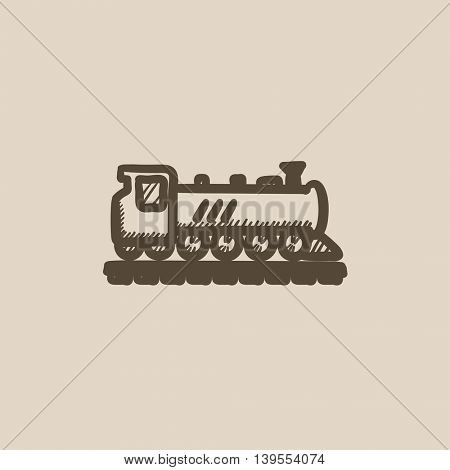 Train vector sketch icon isolated on background. Hand drawn Train icon. Train sketch icon for infographic, website or app.
