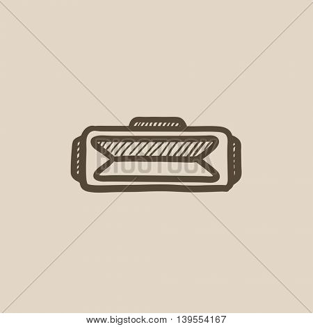 Virtual reality headset vector sketch icon isolated on background. Hand drawn Virtual reality headset icon. Virtual reality headset sketch icon for infographic, website or app.