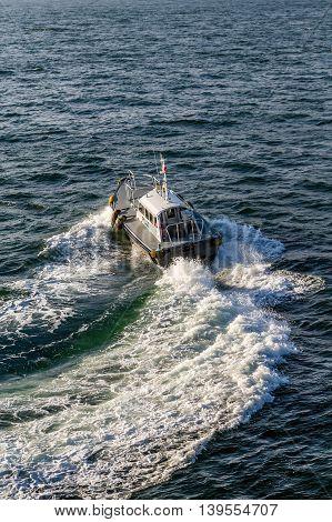 Pilot boat in green water near cruise ship
