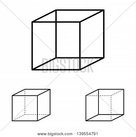 Necker cube optical illusion. Ambiguous line drawing. Most people see the left interpretation of the cube because people view objects more often from above, with the top side visible, than from below.
