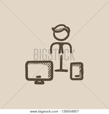 Man linked with computer and phone vector sketch icon isolated on background. Hand drawn Man with computer and phone icon. Man with computer and phone sketch icon for infographic, website or app.