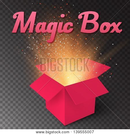 Illustration of Realistic Magic Open Box. Magic Gift Box with Magic Light Comming from Inside Isolated on Transparent Overlay Background