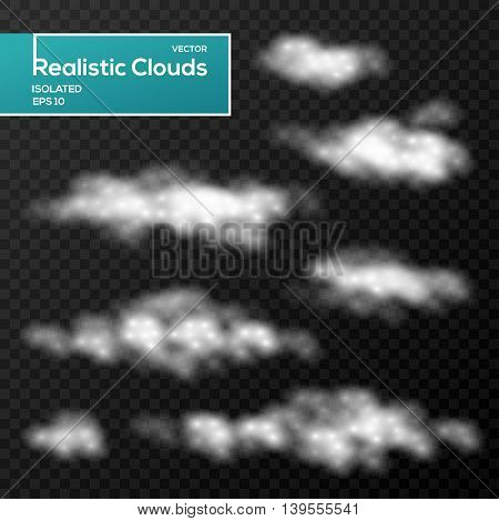 Vector abstract decorative clouds on black background