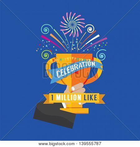 1 Million Likes Celebration Vector Illustration. EPS 10