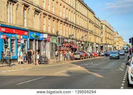 GLASGOW SCOTLAND - JULY 21 2016: Argyle Street Finnieston in the west-end of Glasgow.
