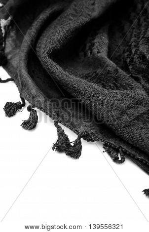 Black arabic scarf isolated on white background