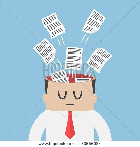 Data Paper Flying Out From Businessman Head