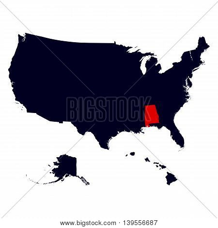 Alabama State in the United States map vector