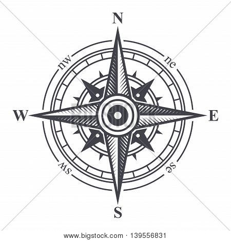 Wind Rose or Compass Icon on White Background. Vector Illustration