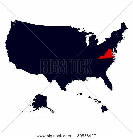 Virginia State in the United States map vector