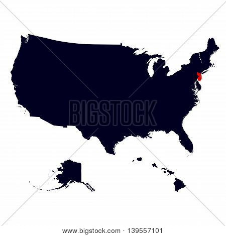 New Jersey State in the United States map vector