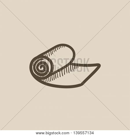 Camping carpet vector sketch icon isolated on background. Hand drawn Camping carpet icon. Camping carpet sketch icon for infographic, website or app.