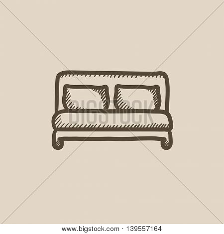 Double bed vector sketch icon isolated on background. Hand drawn Double bed icon. Double bed sketch icon for infographic, website or app.