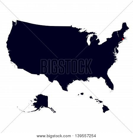 Rhode Island State in the United States map vector