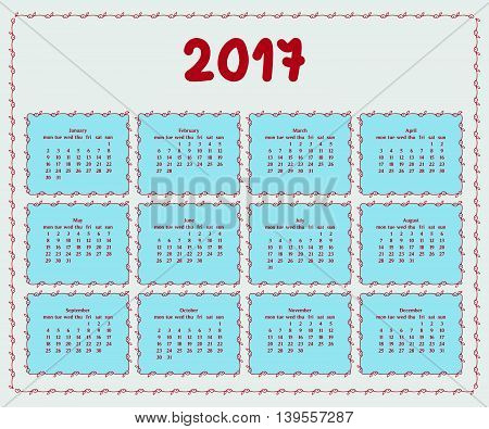 2017 year calendar template with decorative doodle elements hand drawn framesblue and red colors.
