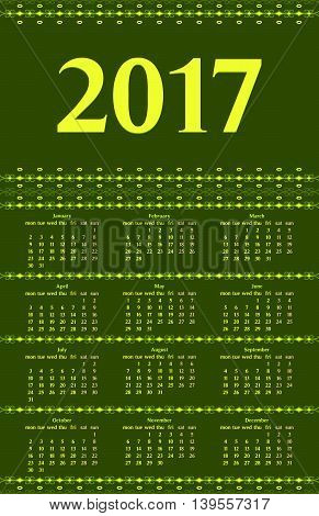 2017 year calendar template with decorative calligraphic dividers green and yellow colors.