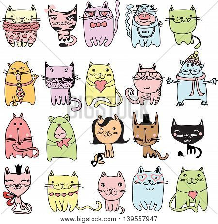 Set of 20 Vector doodle cute cats avatars