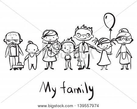 Vector children's cute doodle of happy family.