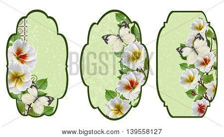 Set labels. Card invitation business card. Flower garland of white primroses.