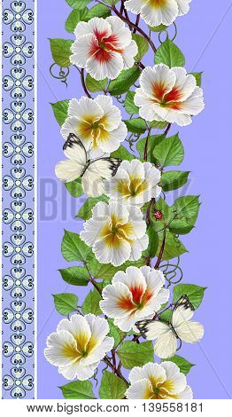 Vertical floral border. Pattern seamless. Flower garland of white primroses.