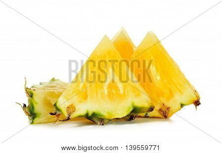 Slice Of Pineapple Isolated On The White Background