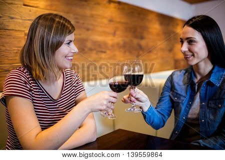 Young female friends toasting wine at table in bar