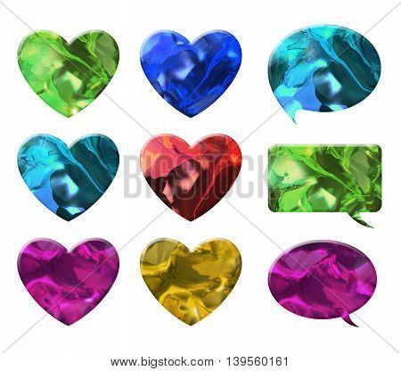 crystal texture of heart and chat bubble shape