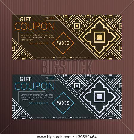 Gift voucher with elegant design. Gift card template. Coupon discount set. Voucher vector design. Coupon template with oriental design.