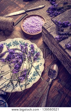 Bath Salt And Fresh Lavender Flowers