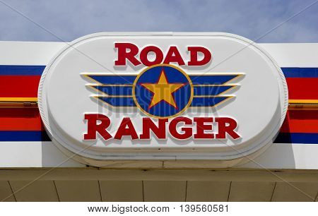 Spencer Wisconsin- July 23 2016 Road Ranger travel center sign Road Ranger is an Rockford Illinois based chain of Travel Centers and Truck Stops