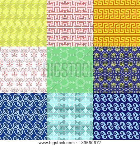 Vector set of ethnic Greek geometric and floral patterns. Seamless collection in the style of a Greek meander