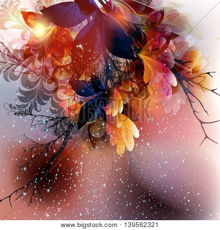 Abstract floral vector shiny background with leafs and branches in pink purple and orange colors