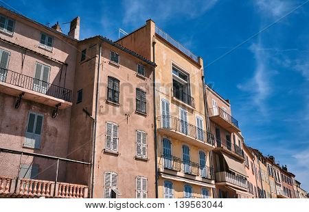 Tenement houses in the port of Saint-Tropez France