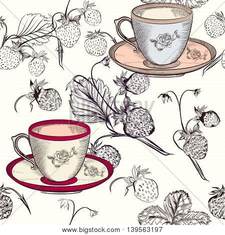 Beautiful vector pattern with strawberry and cups. Ideal for fabric prints patterns
