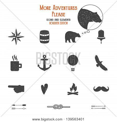 Outdoor icons and elements set for creation hiking, camping logo other designs. Solid flat vectors isolated. Travel symbols gear. Hipster adventure filled. Create own badge, insignias. Grunge edition